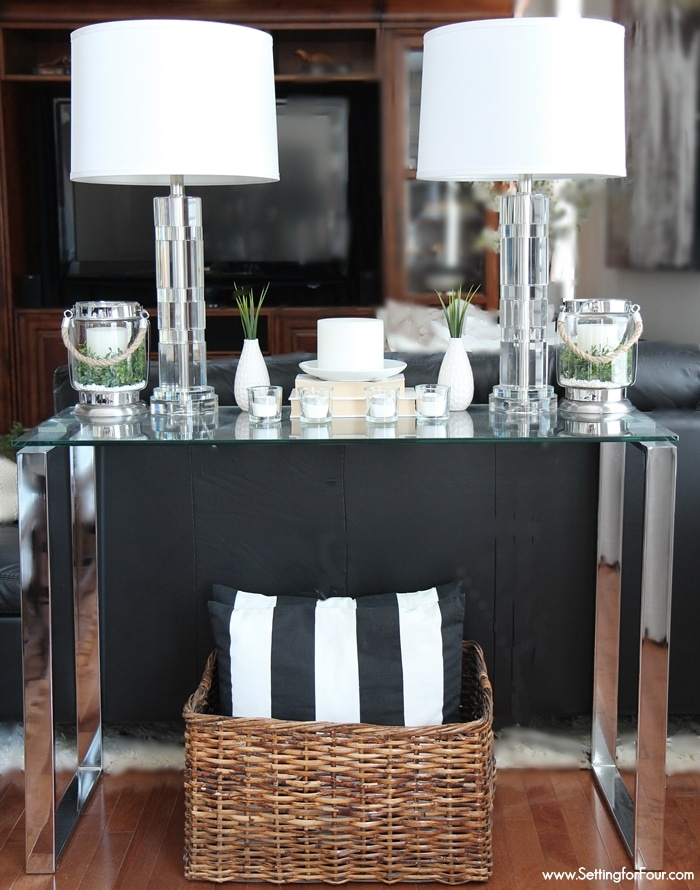 How to decorate with lanterns indoors and outdoors! Lanterns look beautiful on a console table!