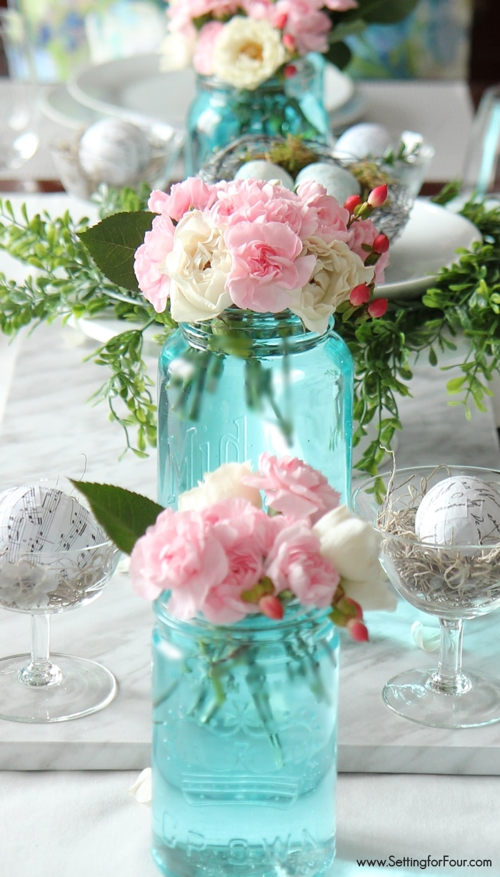 How to tint mason jars blue! No messy painting - quick and easy tutorial and supply list included!! Gorgeous centerpiece and table top ideas for weddings, parties and Spring decor!