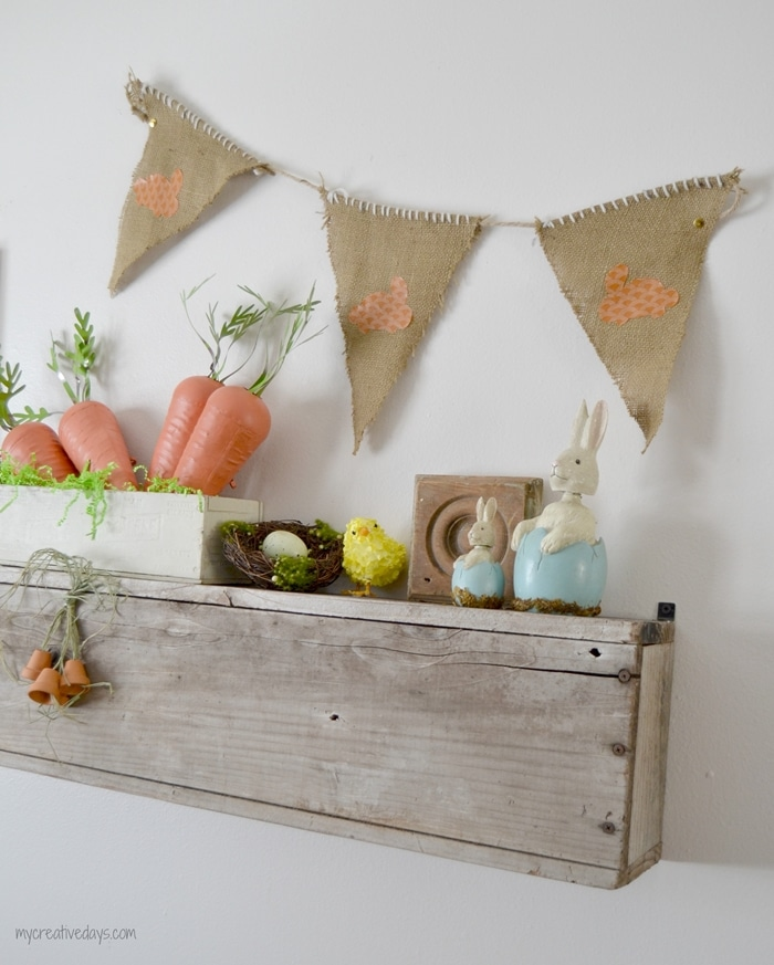 Easter Mantel Decor with DIY Burlap Banner