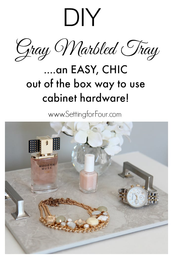 This is such a clever OUT OF THE BOX diy decor idea! Easy, inexpensive and stylish Gray Marbled DIY Tray made from gorgeous cabinet hardware and floor tile. Use for storage and display!