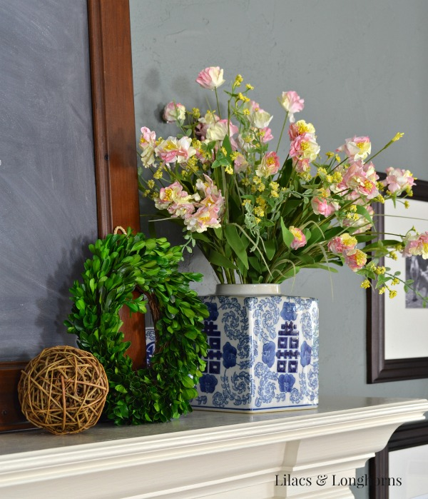 Spring Mantel in blue and white