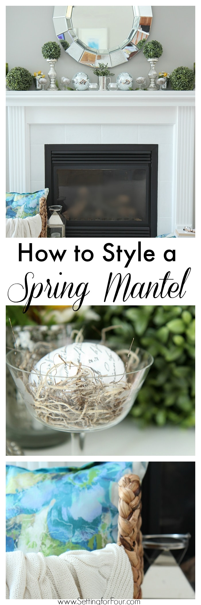 How to decorate and style a Spring Mantel! Decorating tips for the mantel surface to the hearth too!