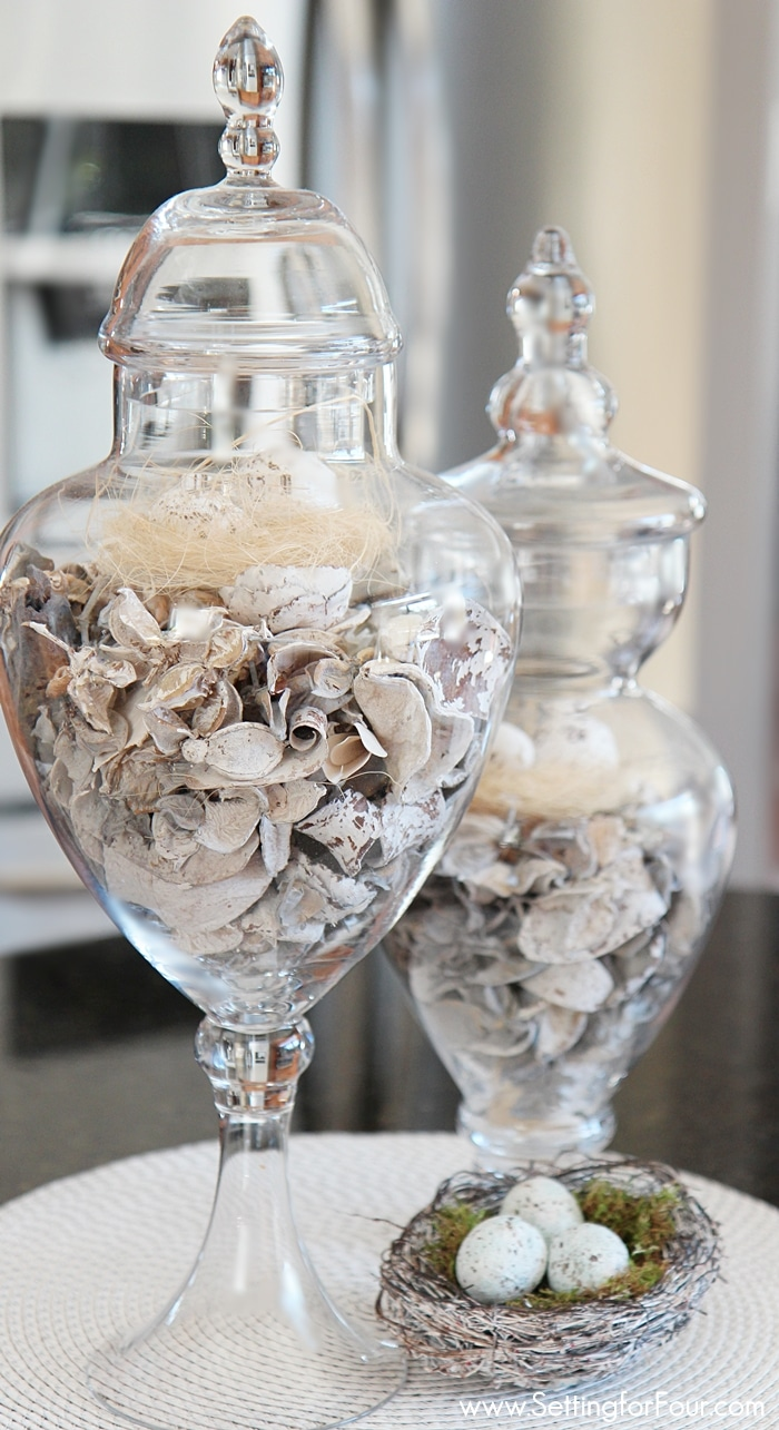 GORGEOUS Easter and Spring Apothecary Jar Filler Idea to decorate your home.