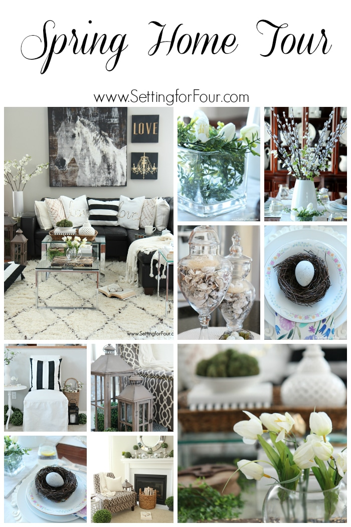 See my Spring Home tour! Welcome and come have a peek at my home all decked out for Spring - you don't want to all of these Spring decorating ideas! www.settingforfour.com