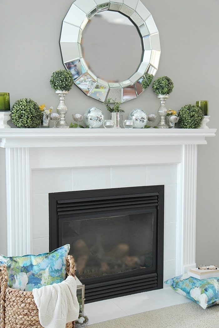 Spring mantel decorating ideas setting for four Fireplace setting ideas