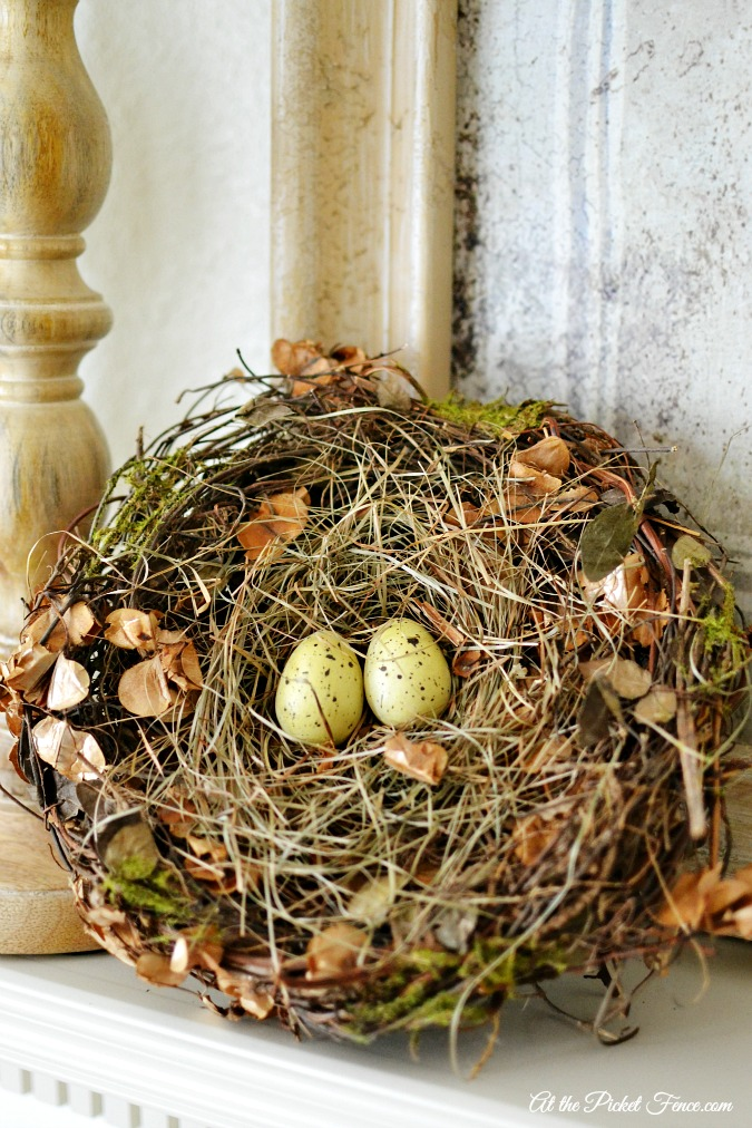 Spring Mantel with bird's nest