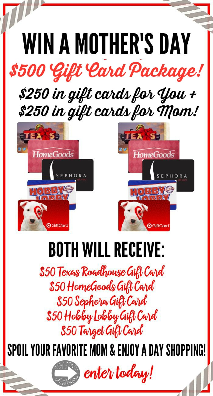 Enter to win this AWESOME Mother's Day $500 Gift Card Giveaway Package- pamper yourself and Mom! www.settingforfour.com