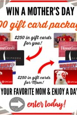 Enter this AMAZING Mother's Day Giveaway to a $500 Gift Card Package! You'll get one $250 gift card package for you and on $250 gift card package to give to your Mom or a friend! www.settingforfour.com