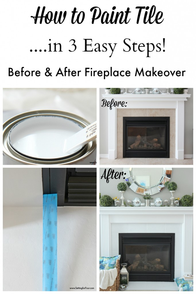 How To Paint Tile Easy Fireplace Paint Makeover