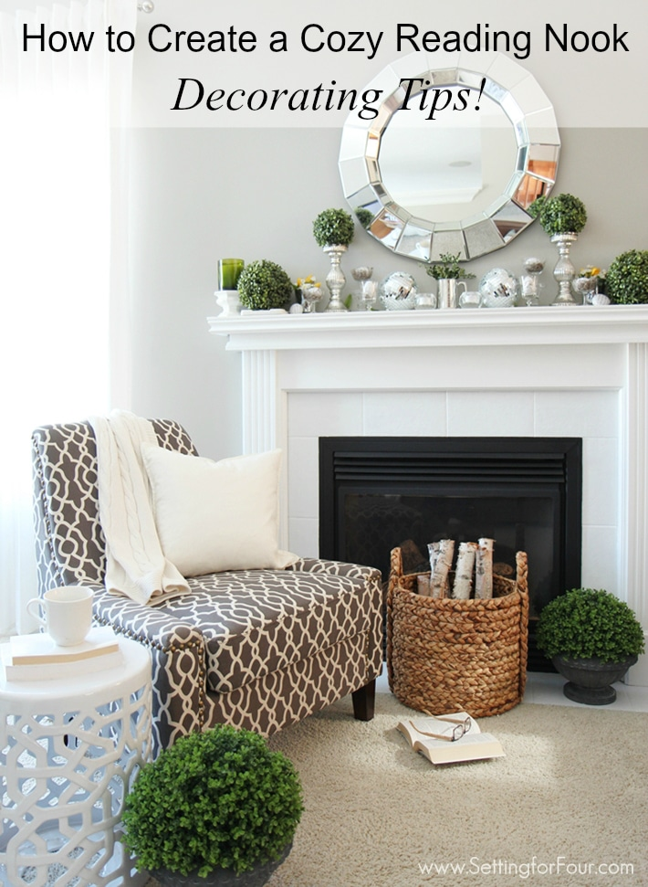 How to Create a cozy reading nook! See these helpful decorating tips to create a relaxing spot to read and unwind from the busy day!