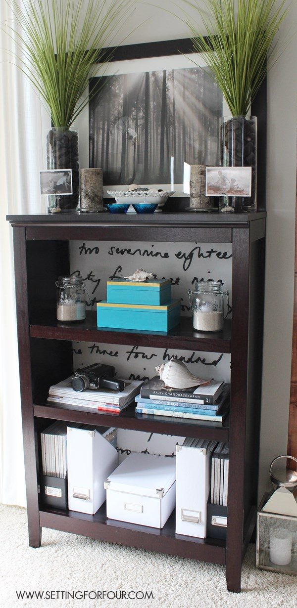 Target Bookcase Makeover with Fabric Lined Back. Easy budget friendly DIY.