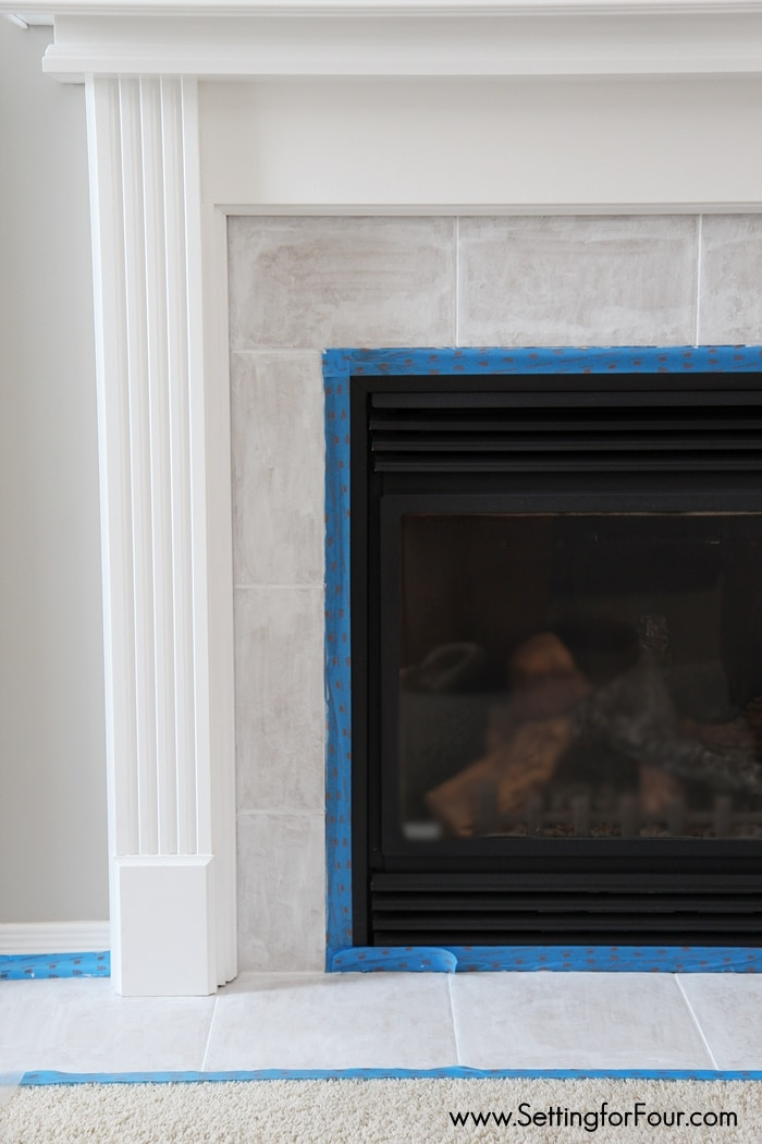 How to Paint Tile - Easy Fireplace Paint Makeover - Setting for Four