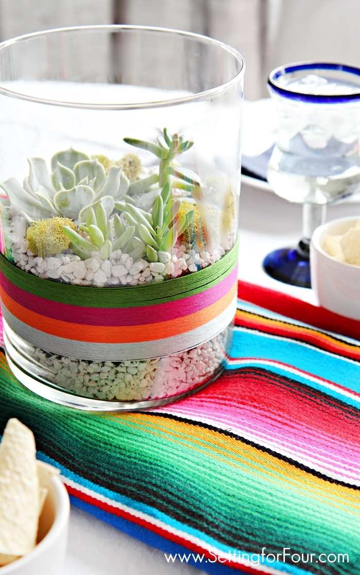 EASY and Beautiful! DIY Succulent Terrarium to celebrate Cinqo de Mayo! GORGEOUS festive table centerpiece or coffee table decor for your Mexican fiesta party! www.settingforfour.com