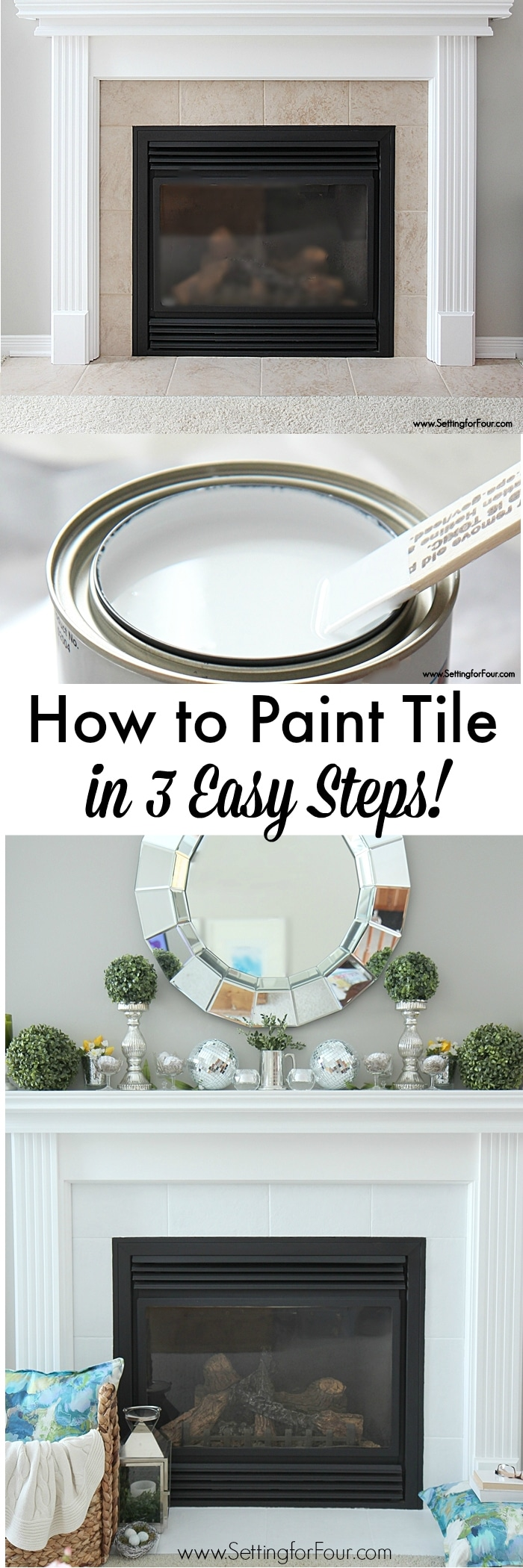 How to Paint Tile in 3 EASY steps! I show you the supplies and type of paint I used to give boring beige fireplace tile a fresh white update!
