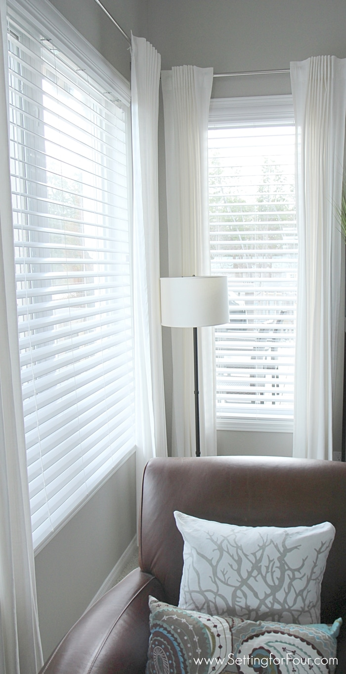 Family Room window treatment makeover - how to choose and install GORGEOUS double bevel edge horizontal blinds with the classic look of shutters but NO big price tag!!
