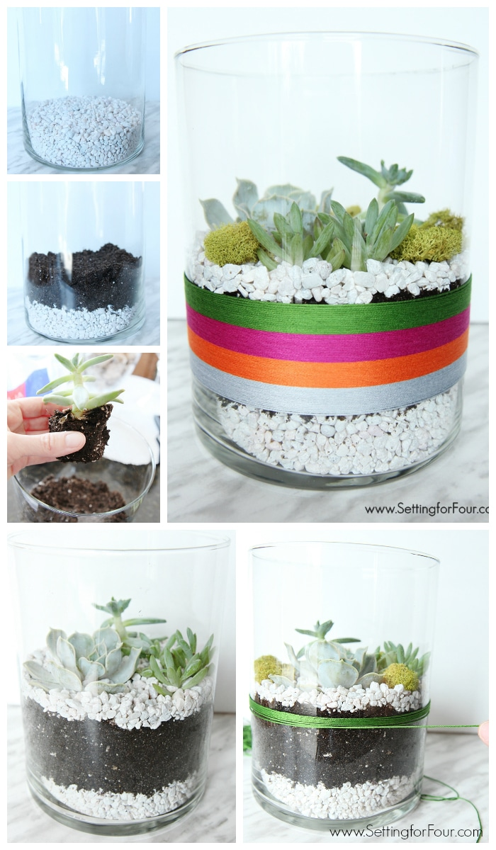 So EASY to make! DIY Succulent Terrarium indoor garden to celebrate Cinqo de Mayo! GORGEOUS festive table centerpiece or coffee table decor for your Mexican fiesta party! www.settingforfour.com