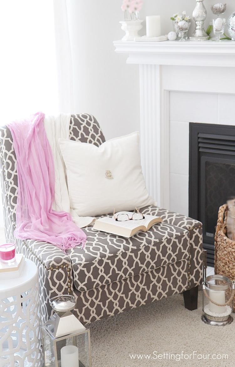 The BEST decorating tips and advice to creating a put together cozy reading nook! www.settingforfour.com