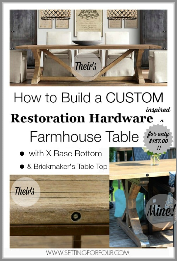 I combined two Restoration Hardware table designs to make this one of a kind X base with lag bolts for just $157.00! : DIY Restoration Farmhouse Table: