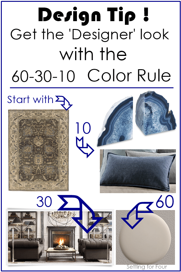 Design Tip 60-30-10 Color Rule - an EASY way to decorate and create the PERFECT color palette for a room! www.settingforfour.com