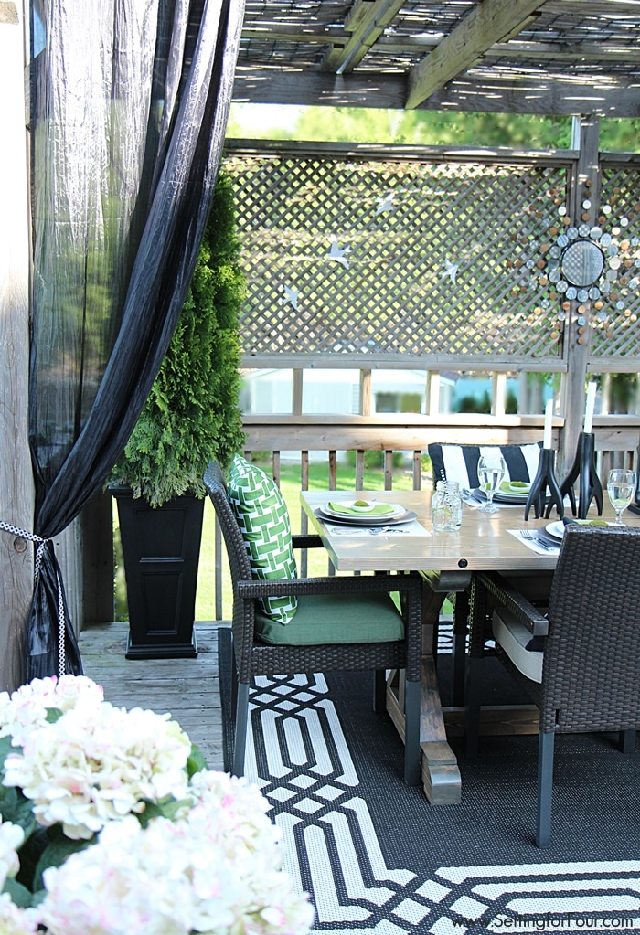 Summer Lodge Deck Source List - I'm sharing my decor secrets! See all of my decor sources for our relaxing outdoor pergola and deck decor so you can recreate the look! www.settingforfour.com