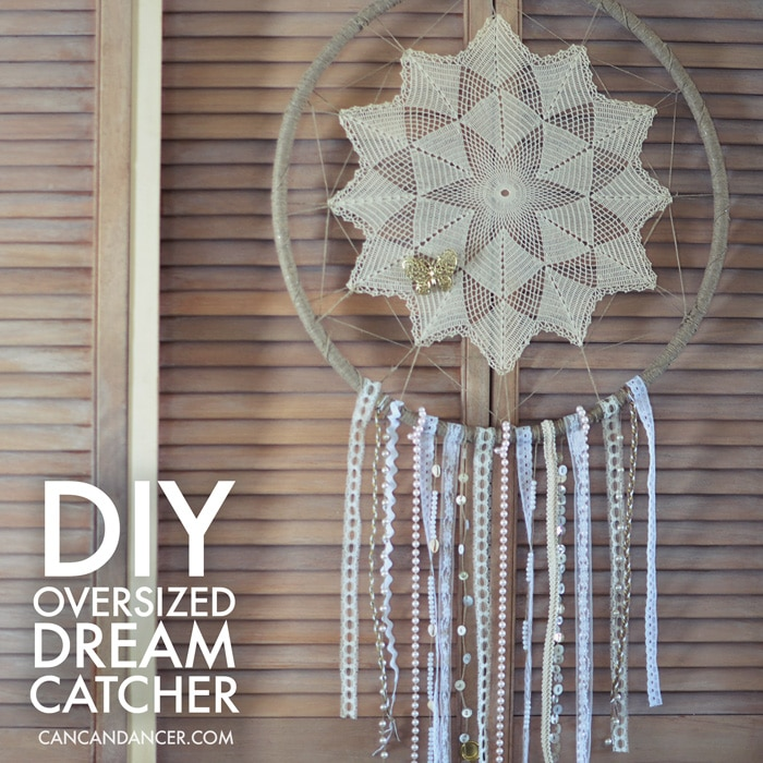 Upcycle Grannies doilies with this gorgeous Oversized DIY Hula Hoop Dream Catcher wall art idea!