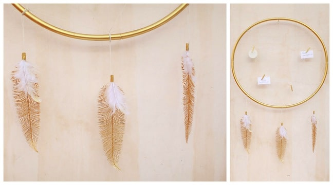 DIY GOLD Dreamcatcher wall art made from hula hoops and feathers