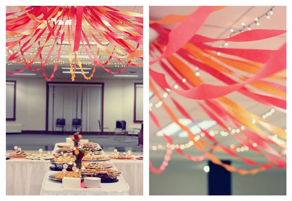 DIY Hula Hoop Streamer Canopy - easy and budget friendly wedding reception idea!