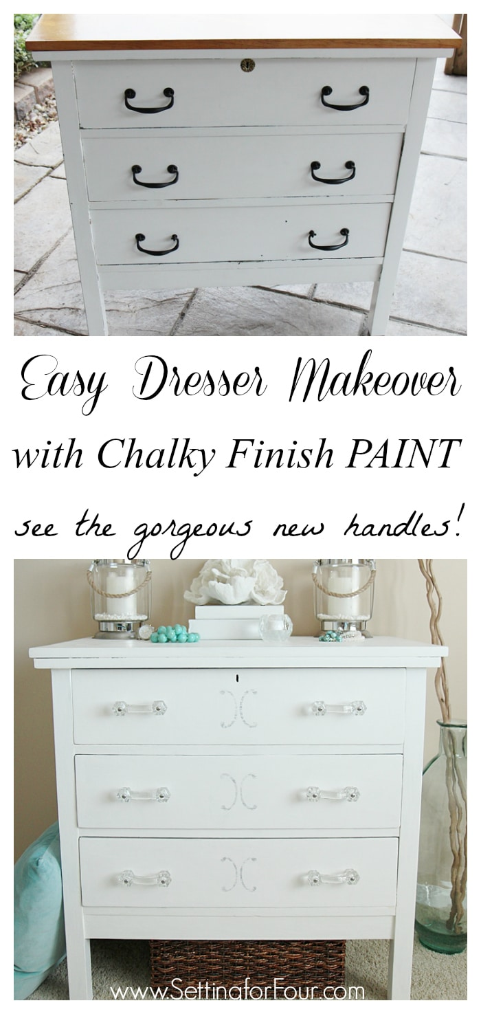 DIY dresser makeover with Chalky Finish Paint and stencil design in grey and white! Come see the before and after at www.settingforfour.com