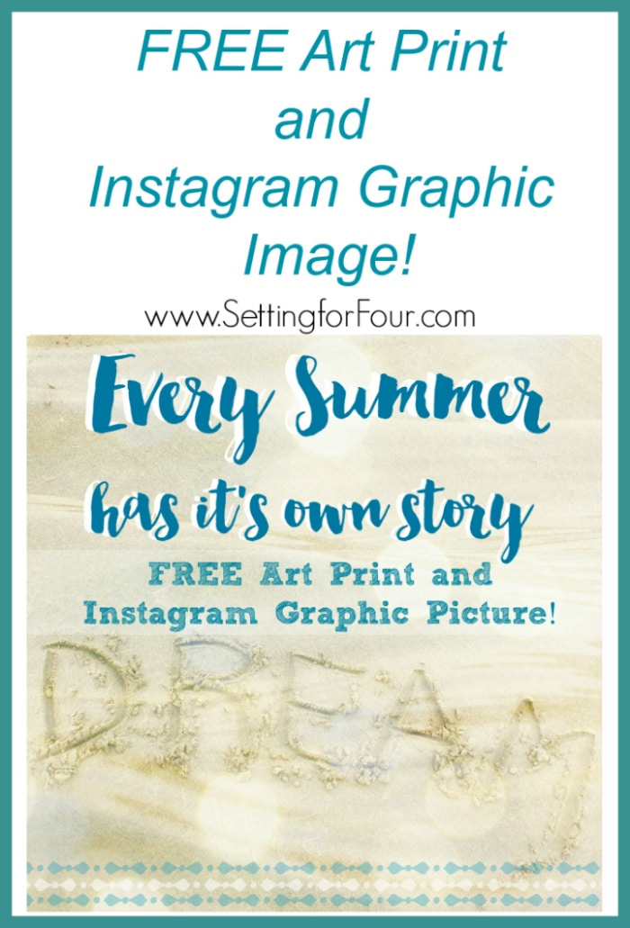 Get this FREE gorgeous Art Print and Instagram Graphic Image! Print to hang as an art print or use on your Instagram page! www.settingforfour.com