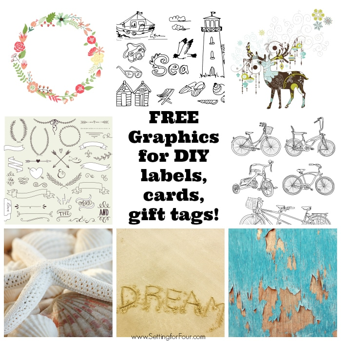 Get your FREE Graphics for DIY labels, cards, gift tags, party pendants, art prints and more! 250,000 + Royalty Free images at your fingertips FREE! www.settingforfour.com