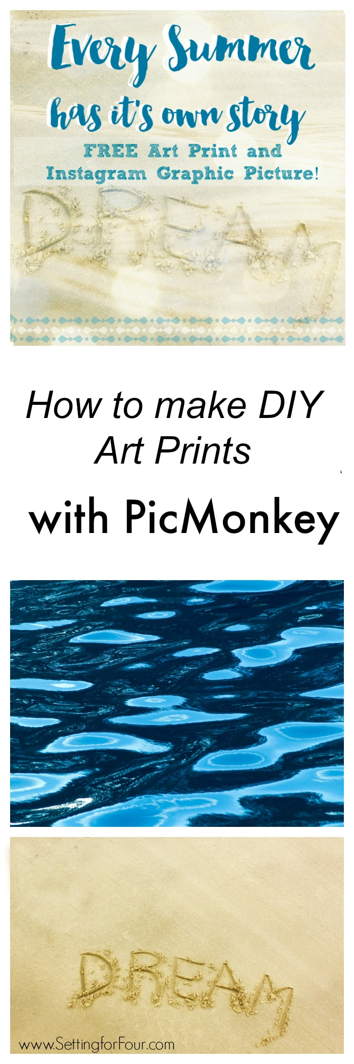 How to use PicMonkey to make DIY art prints easily. Step by Step PicMonkey tutorial included to make this gorgeous Summer art print. Plus I'm giving this away free as a printable!