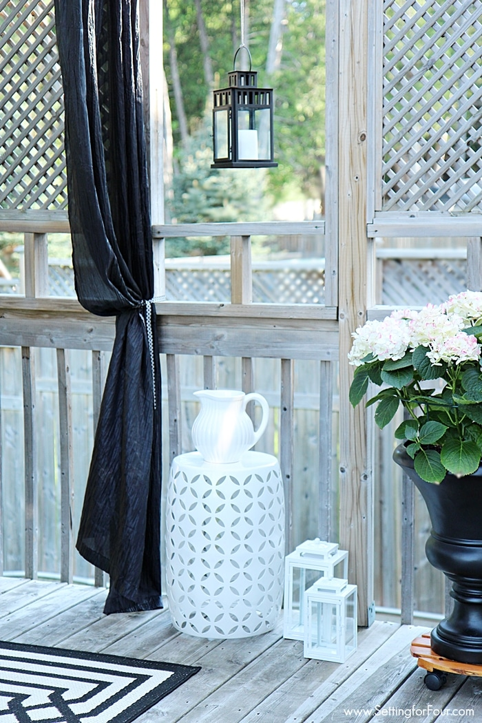 How to decorate with lanterns indoors and outdoors! Lanterns look amazing hung outside!