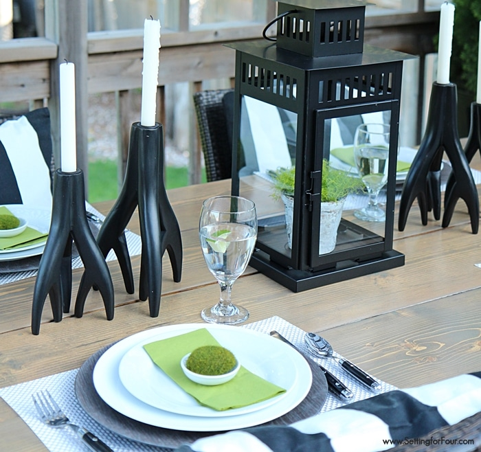 Deck decor and summer tablescape 'Summer Lodge' style! See how I pulled together this gorgeous summer woodland look! www.settingforfour.com