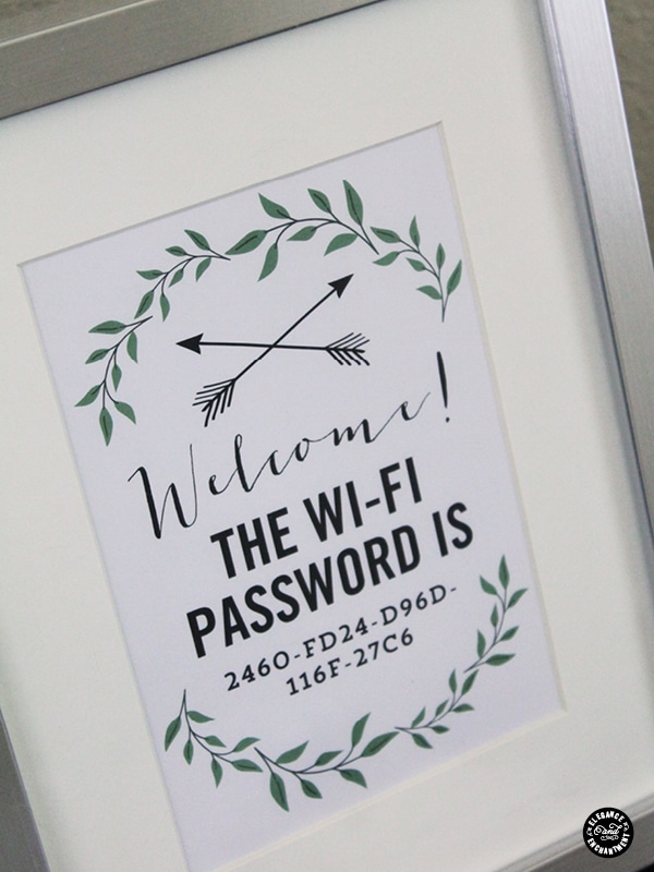 Using this stylish free printable to frame your Wifi password will make it easy for guests to connect. It's really thoughtful to add to your guest bedroom!