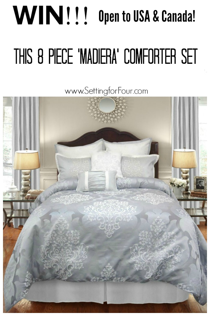 Enter now! Win this EXQUISITE 8 Piece Comforter set! Open to USA & Canada! www.settingforfour.com