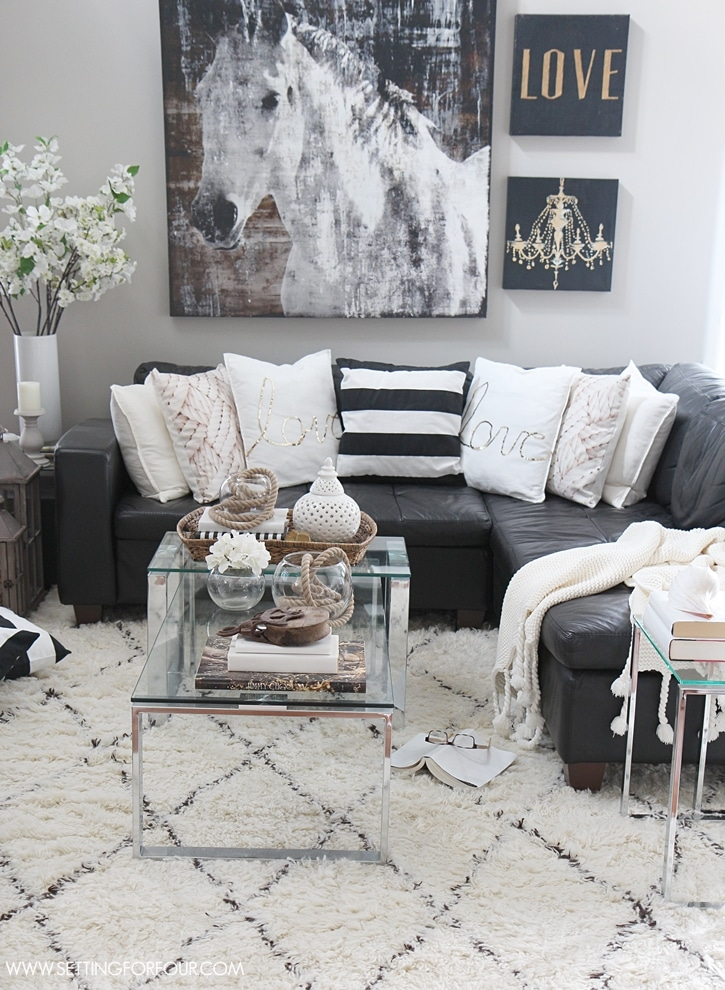 Family room decor for summer and house tour.