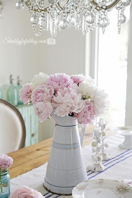 Summer pink peonies