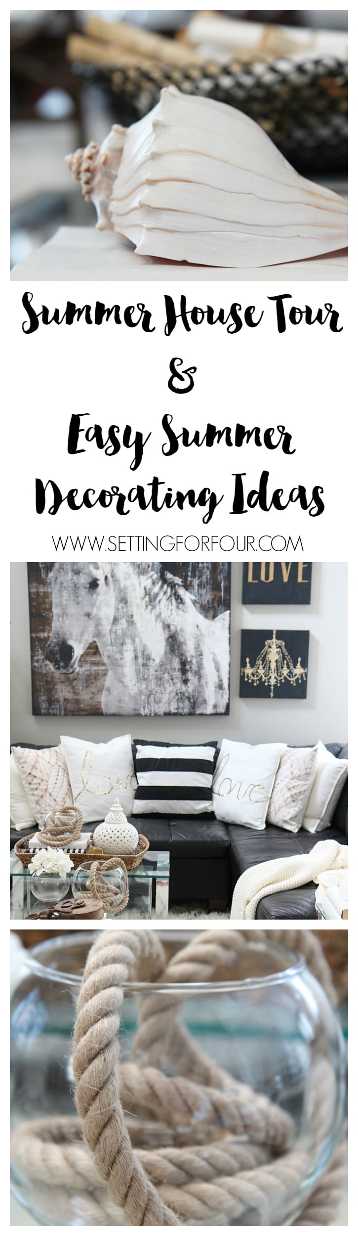 Some see my summer house tour! Tons of summer decorating ideas and tips you can add to your own home! www.settingforfour.com
