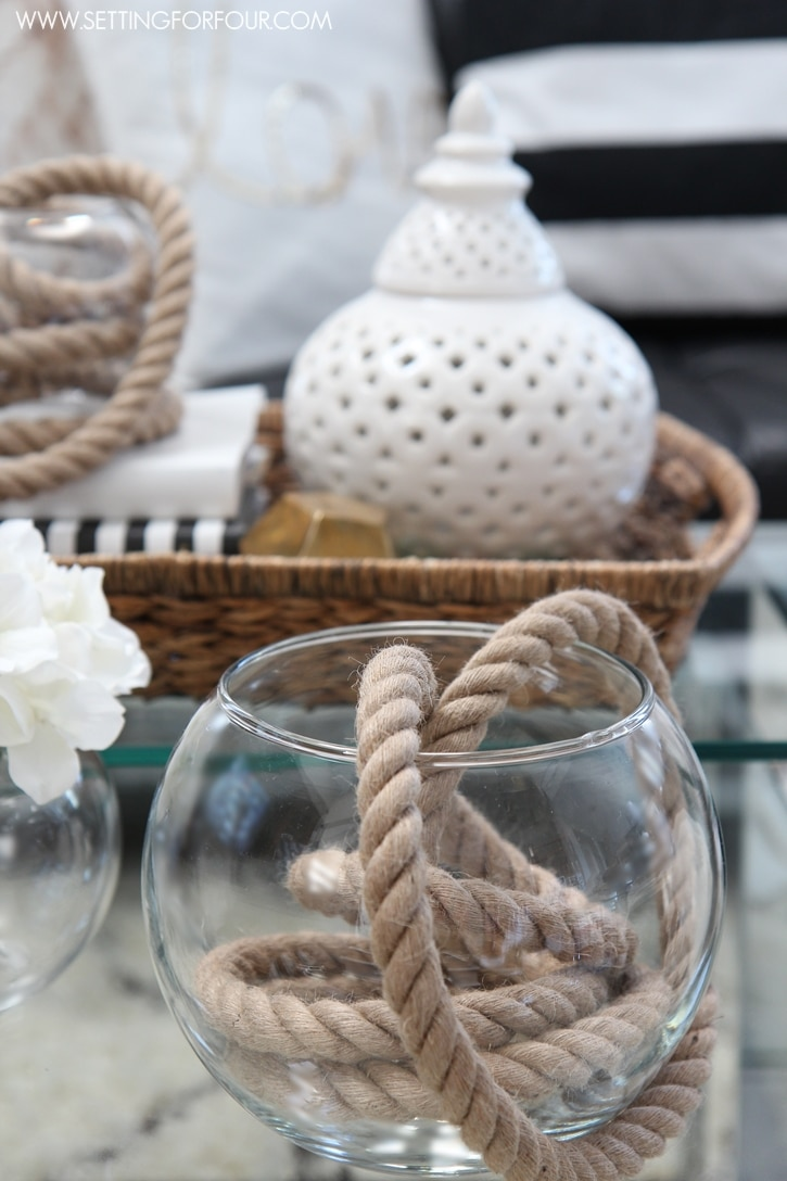 A summer vignette and simple decorating ideas with rope