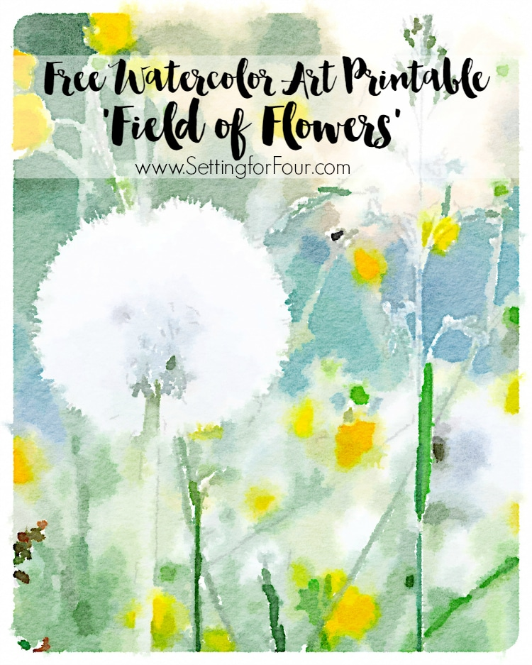 Get your FREE gorgeous 'field of flowers' watercolor art printable for your home! Just print, frame and hang for instant, free wall art decor! www.settingforfour.com