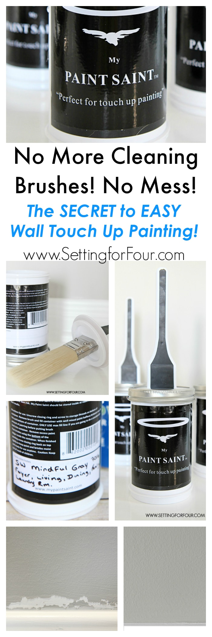 The Easy Way to Touch Up Wall Paint! I tried this and am AMAZED! See the SECRET to easy, mess free wall touch up painting! No more cleaning brushes or dealing with old rusted cans of paint- hurray!