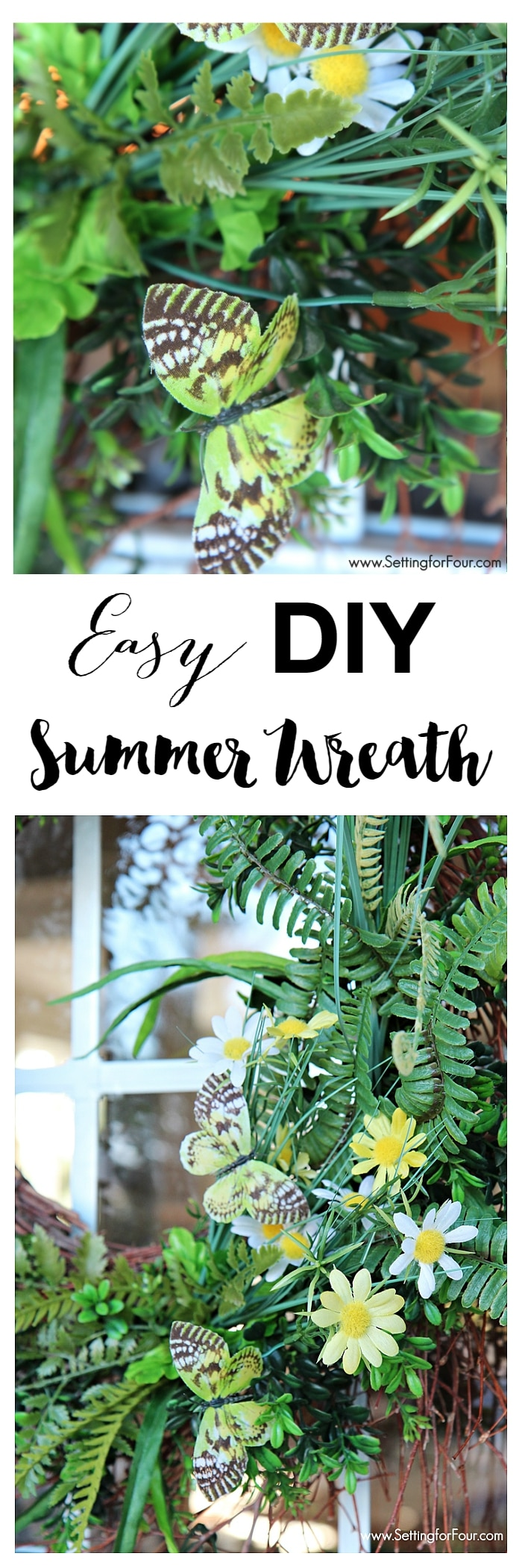 Decorate your front door with this quick and easy charming summer wreath DIY.  Covered with classic summer icons: butterflies, ferns and boxwood. A great way to add instant curb appeal to your home! www.settingforfour.com