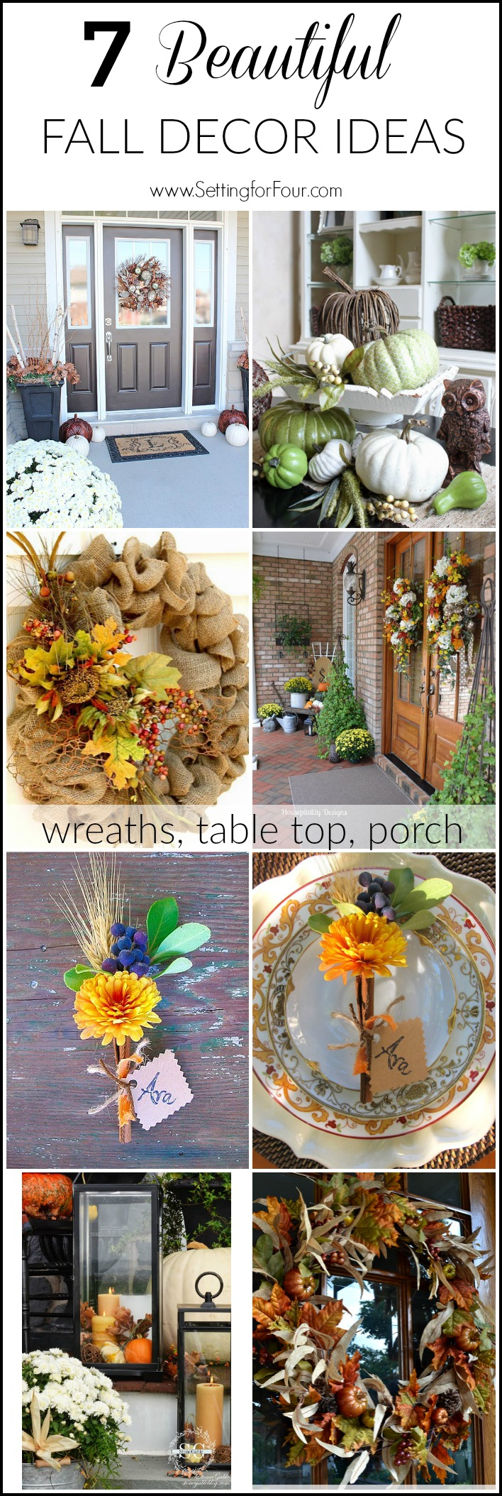 Bring the rich colors and textures of Fall into your home with these seven GORGEOUS early Fall Decorating Ideas! Includes Autumn DIY projects and decor ideas for your porch, table top and wreath projects too!