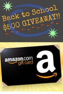 Back to School Giveaway – $500 Amazon Gift Card