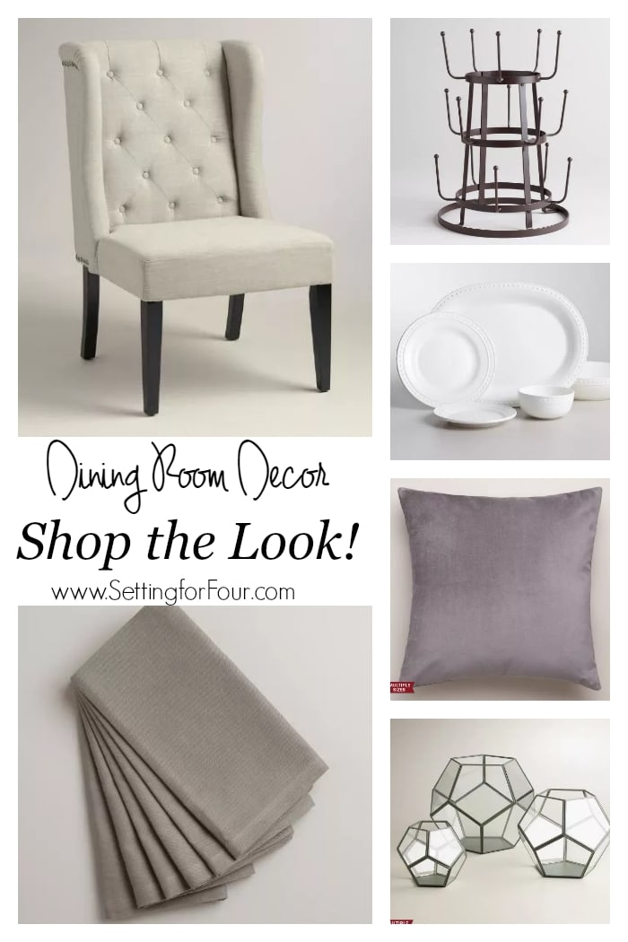 Dining Room Mood Board - shop the look! See my dining room decor update. All furniture, dinnerware and decor sources included! www.settingforfour.com