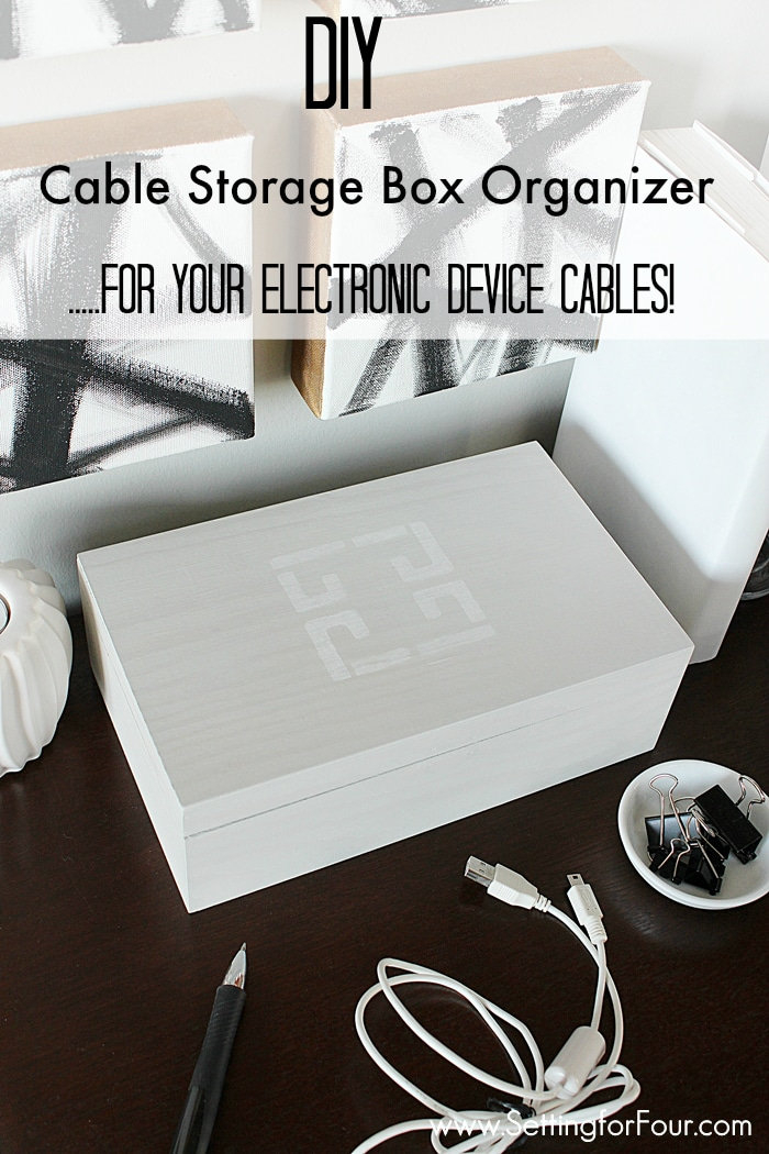 What a pretty, decorative way to corral all those cords for your computers, cameras, iPhone charger and tech devices! Make this Gorgeous DIY Cable Storage Box Organizer so you can easily find that one cord for your electronic device. Great gift idea too! www.settingforfour.com