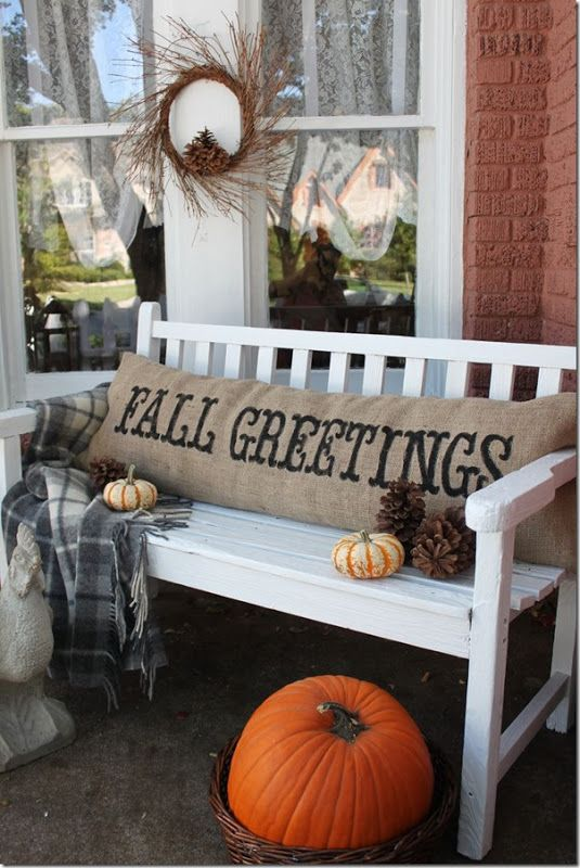 Front Porch Fall decor inspiration! Easy Burlap Fall DIY PIllow - love the fall greetings stencil! www.settingforfour.com