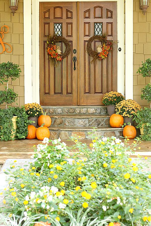 Fall Porch home decor ideas. www.settingforfour.com