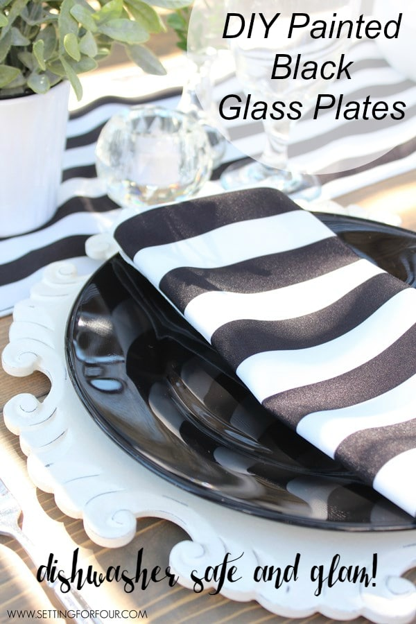 Easy DIY Painted Glass Plates - see how you can make these gorgeous black glass plates that are DISHWASHER SAFE and oh so GLAM! Perfect table decor for parties, weddings and Halloween! www.settingforfour.com