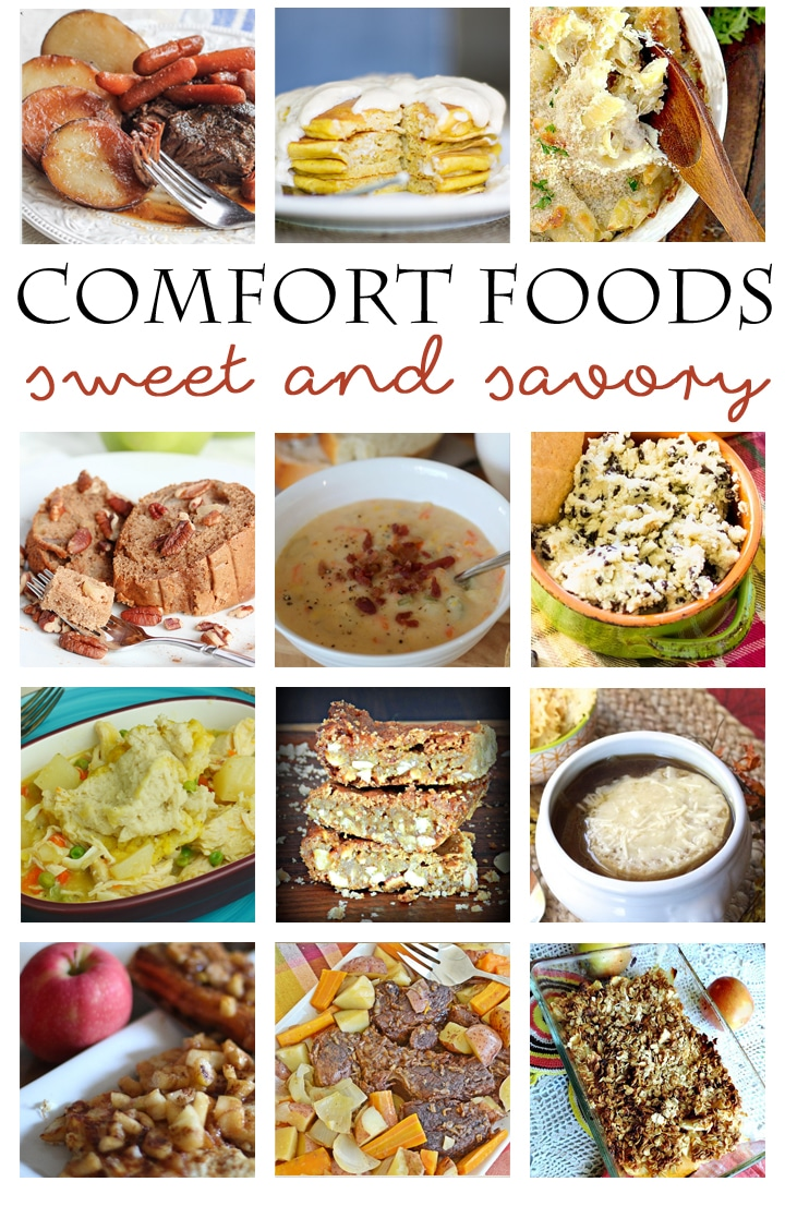 12 delicious COMFORT FOOD recipes - sweet and savory dishes for breakfast, lunch, dinner and dessert. Hearty recipes filled with the taste of home your family will LOVE! www.settingforfour.com